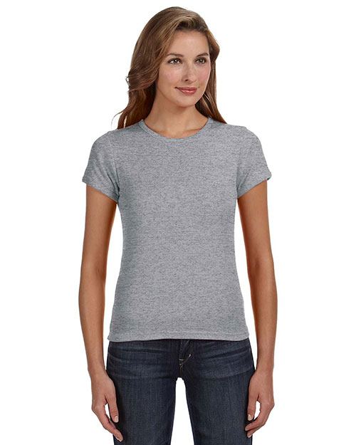 Anvil 1441 Women 1x1 Baby Rib Scoop TShirt Heather Grey at GotApparel