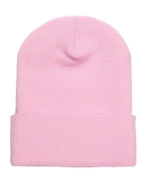 Yupoong 1501 Unisex Cuffed Knit Cap Pink at GotApparel