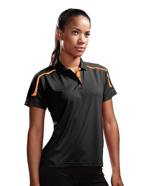 TRI-MOUNTAIN PERFORMANCE 171 Women Titan- UltraCoolKnit Polo Shirt With Rib Collar Black/Orange at GotApparel