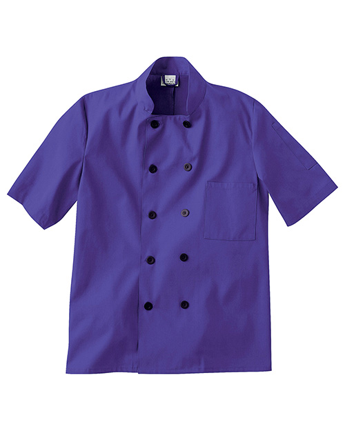 Five Star 18025  Short Sleeve Chef Jacket In Colors.  29 Length. 10 Black Button Closure.  Breast Pocket.  Split    Two Piece Back.  65/35 Poplin With  Soil Release. at GotApparel
