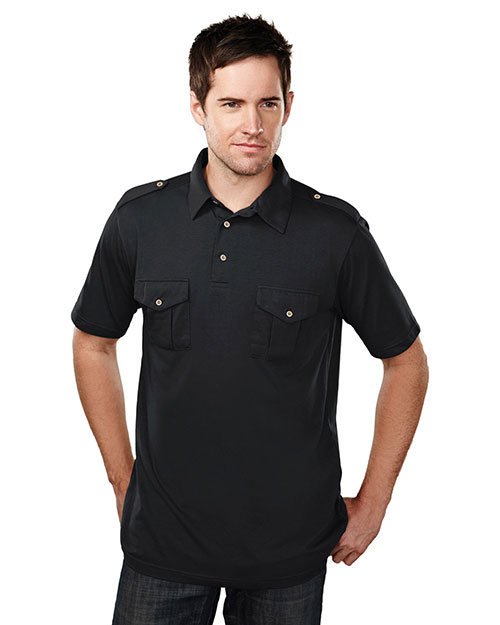 Tri-Mountain 187 Men Uptown Short Sleeve Knit Polo Shirt With Epaulette at GotApparel
