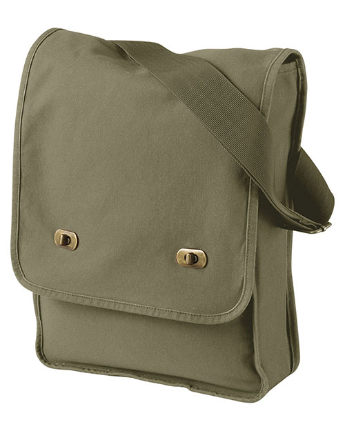 Authentic Pigment 1902  Unisex 14 oz. PigmentDyed Canvas Field Bag Khaki Green at GotApparel