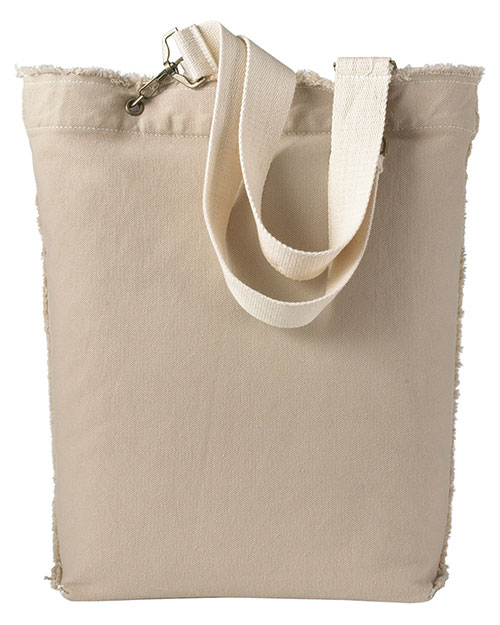 Authentic Pigment 1906  Unisex 14 oz. DirectDyed RawEdge Tote Stone at GotApparel