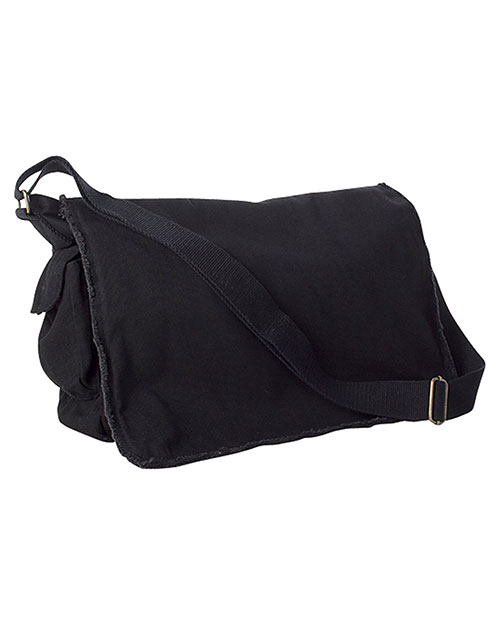 Authentic Pigment 1908  Unisex 14 oz. PigmentDyed RawEdge Messenger Bag Black at GotApparel