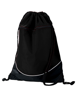 Augusta Drop Ship 1920 Tri-Color Drawstring Backpack Black/Black/White at GotApparel