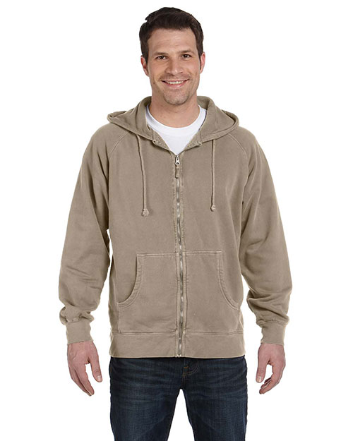 Authentic Pigment 1940 Men 11 oz. Pigt-Dyed Ringspun Cotton Full-Zip Hood Mocha at GotApparel