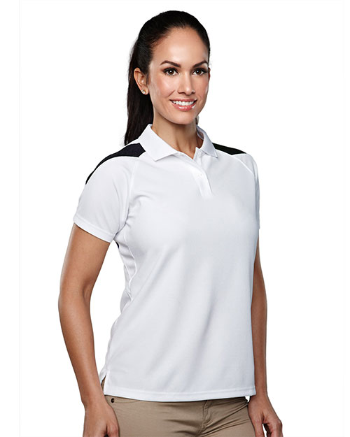 TRI-MOUNTAIN PERFORMANCE 203 Women Avenger Knit Polo Shirt Raglan Sleeve Shoulder Contrast White/Black at GotApparel