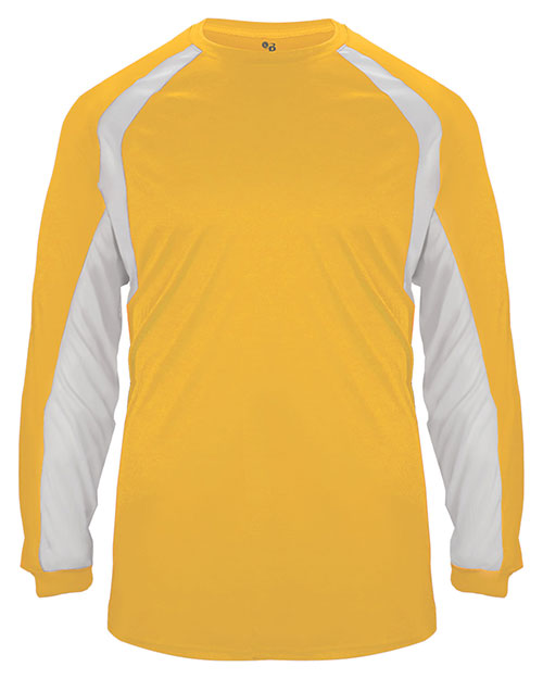 Badger Sport 2154  Youth Performance L/S Hook Tee Gold/ White at GotApparel