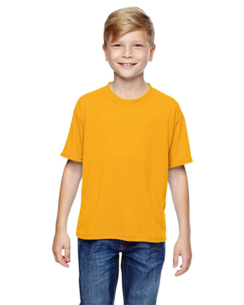 Jerzees 21B Boys 5.3 oz., 100% Polyester SPORT with MoistureWicking T-Shirt Gold at GotApparel