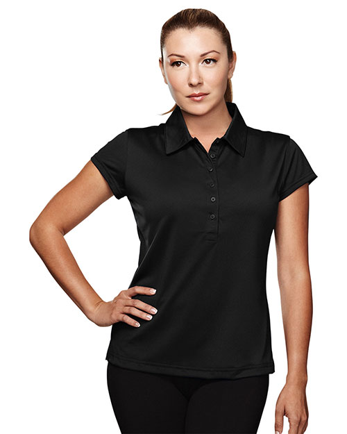 TRI-MOUNTAIN PERFORMANCE 221 Women California Poly Ultracool Capped Sleeves Golf Shirt With Self-Fabric Collar Black at GotApparel