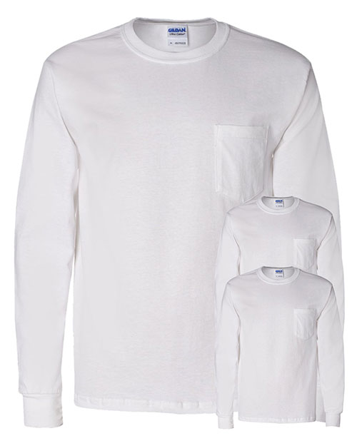 Gildan G241 Men Ultra Cotton 6 Oz. Long-Sleeve Pocket T-Shirt 3-Pack at GotApparel