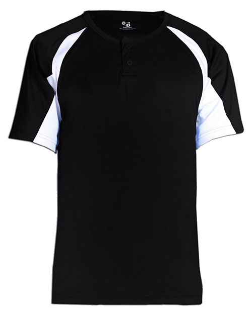 Badger Sport 2938  Youth Perf Hook Tee Black/ White at GotApparel