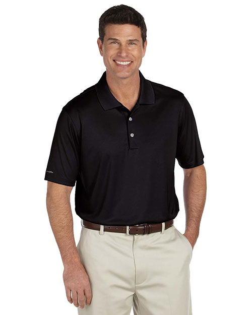 Ashworth 3044 Men Performance Interlock Solid Polo Black at GotApparel