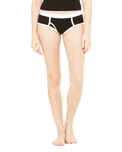 Bella + Canvas 304 Women Cotton/Spandex Boyfriend Brief Black/White at GotApparel