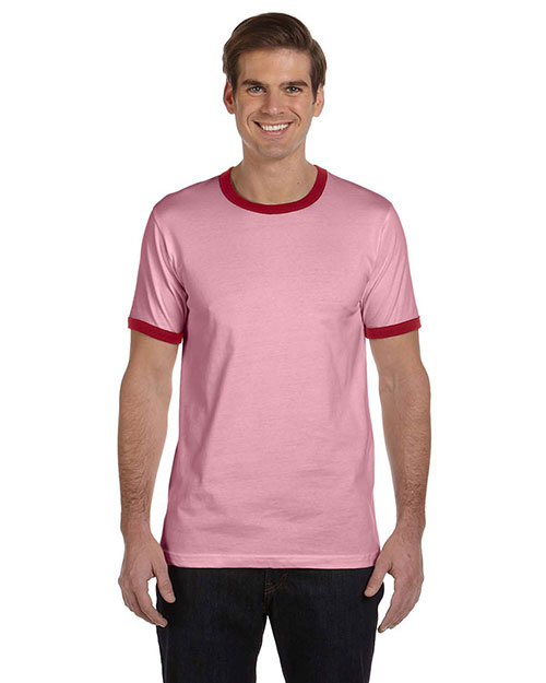 Bella + Canvas 3055C Men Jersey ShortSleeve Ringer TShirt Hthr Pink/Cardinal at GotApparel