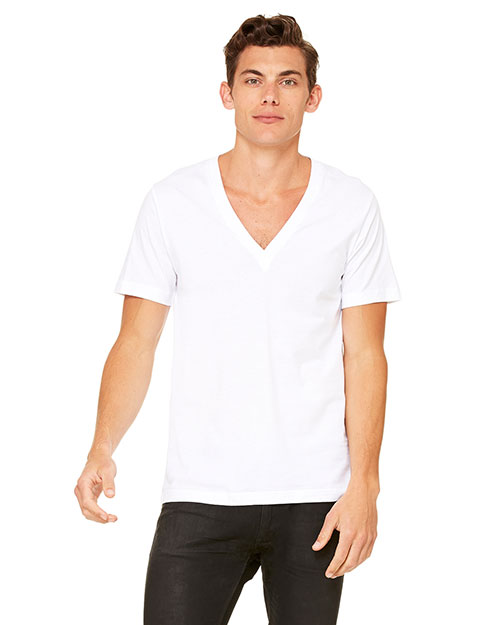 Canvas 3105  Unisex Deep V-Neck WHITE at GotApparel