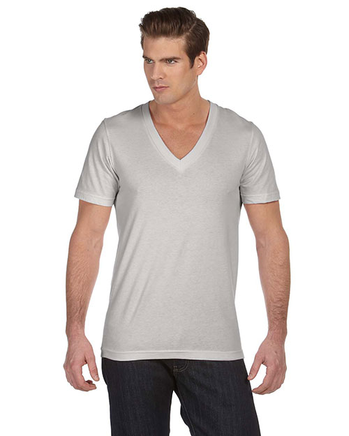 Bella + Canvas 3105 Unisex Jersey Short-Sleeve Deep V-Neck Tee Silver at GotApparel