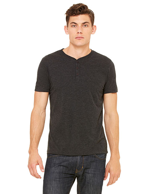 Bella + Canvas 3125 Men Triblend ShortSleeve Henley Charcoal Triblend at GotApparel