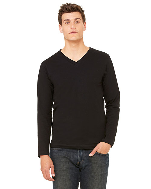Bella + Canvas 3425 Unisex Jersey Long-Sleeve V-Neck Tee Black at GotApparel
