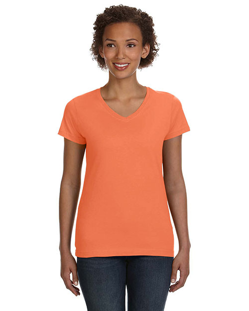 39aecc45118d LAT 3507 Women Fine Jersey V-Neck Longer Length T-Shirt at GotApparel
