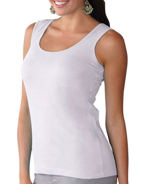 LAT 3590 Women Combed Ringspun Jersey Tank White at GotApparel