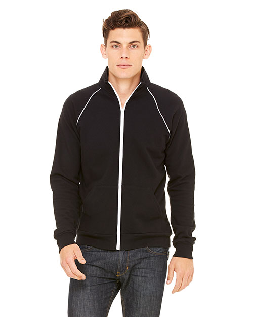 Bella + Canvas 3710 Men Piped Fleece Jacket Black/White at GotApparel