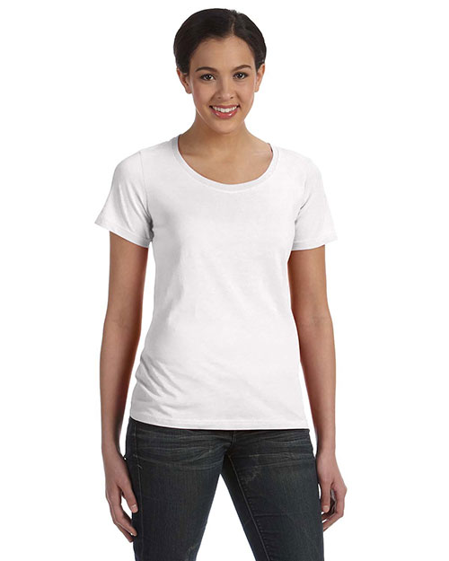 Anvil 391A Bella Ladies Sheer Scoop Neck T-Shirt WHITE at GotApparel