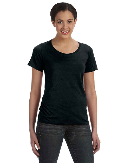 Anvil 391A Women Ringspun Sheer Featherweight TShirt Black at GotApparel