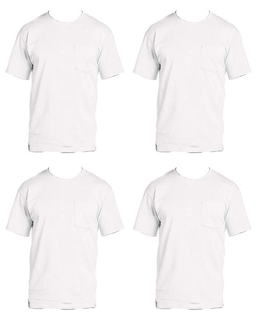 Fruit Of The Loom 3931P Men 5 Oz. 100% Heavy Cotton Hd Pocket T-Shirt 4-Pack at GotApparel