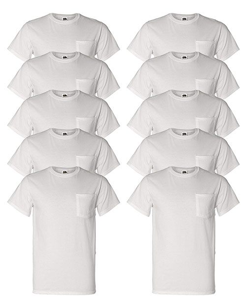 All Sizes Fruit of the Loom Mens Heavy Cotton HD Pocket T-Shirt 3931P 5 PACK