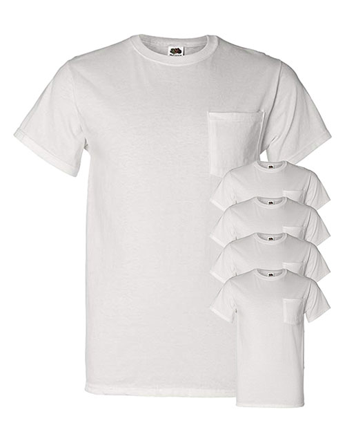 Fruit Of The Loom 3931P Men 5 Oz. 100% Heavy Cotton Hd Pocket T-Shirt 5-Pack at GotApparel