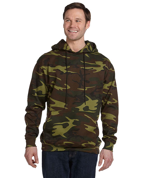 Code V 3969 L.A.T. Adult Camo Hooded Pullover Green Woodland at GotApparel