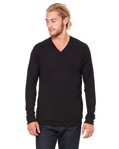 Bella + Canvas 3985 Unisex V-Neck Lightweight Sweater Black at GotApparel