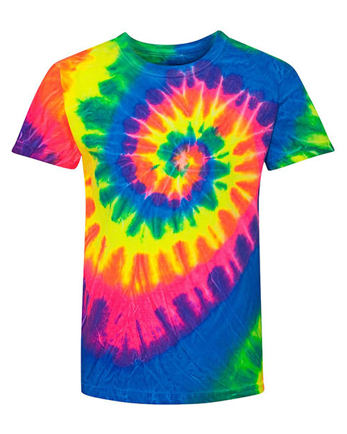 Dyenomite 20BMS Girls Multi-Color Spiral T-Shirt at GotApparel