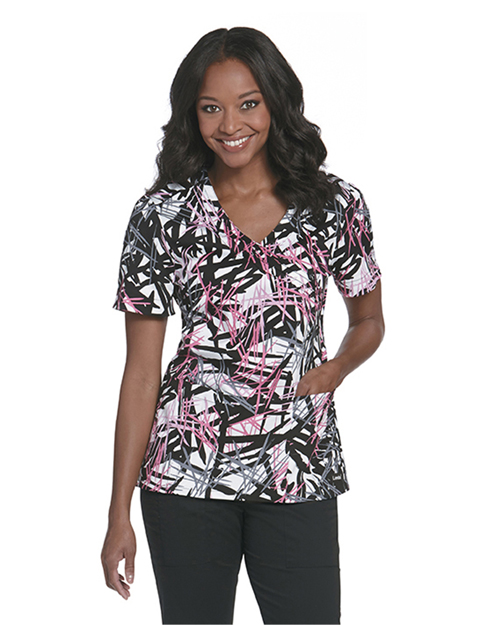 Landau 4071 Women Pintucked Surplice Top at GotApparel