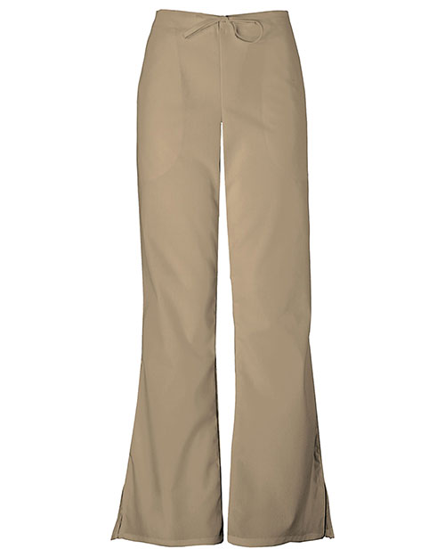 Cherokee Workwear 4101 Women Natural Rise Flare Leg Drawstring Pant Dark Khaki at GotApparel