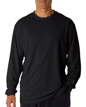 Badger 4104  Adult B-Dry Core Long-Sleeve Performance Tee Black at GotApparel