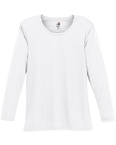 Badger Sport 4164  Lady LS Perform Tee White at GotApparel