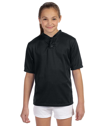 Augusta 427 Boys Wicking Two-Button Jersey Black at GotApparel
