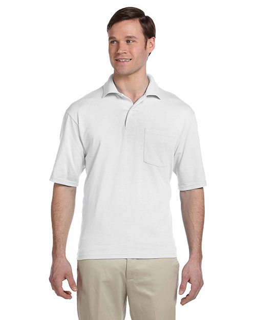 Jerzees 436P Men 5.6 oz., 50/50 Jersey Pocket Polo with SpotShield White at GotApparel
