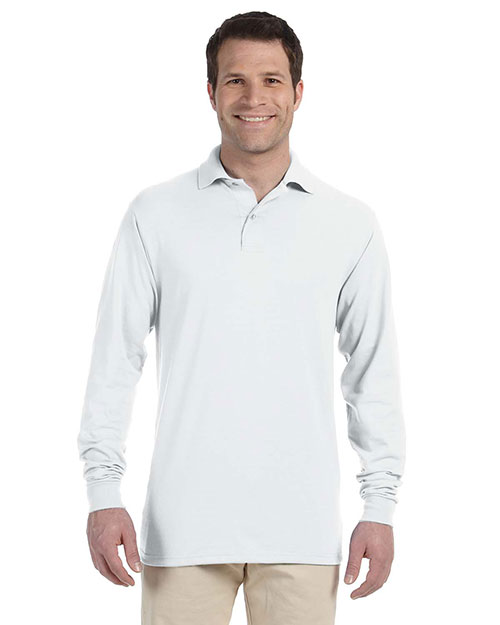 Jerzees 437ML Men 5.6 oz., 50/50 Long Sleeve Jersey Polo with SpotShield White at GotApparel