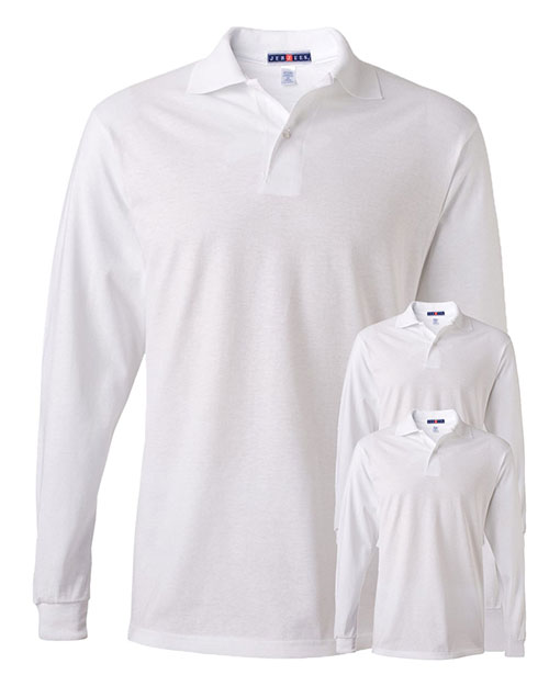 Jerzees 437ML Men 5.6 Oz. 50/50 Long-Sleeve Jersey Polo With Spotshield 3-Pack at GotApparel
