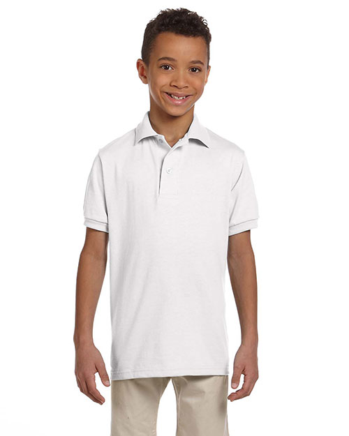 Jerzees 437Y Boys 5.6 oz., 50/50 Jersey Polo with SpotShield White at GotApparel