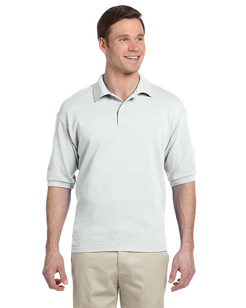 Jerzees 438 Men 50/50 Pique Polo W/Spotshield White at GotApparel