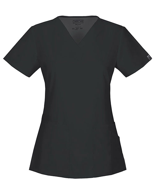 Cherokee Workwear 44700A Women's V-Neck Top Black at GotApparel