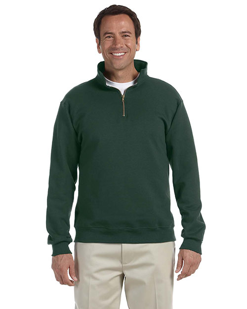 Jerzees 4528 Men 9.5 oz., 50/50 Super Sweats NuBlend Fleece Quarter-Zip Pullover Forest Green at GotApparel