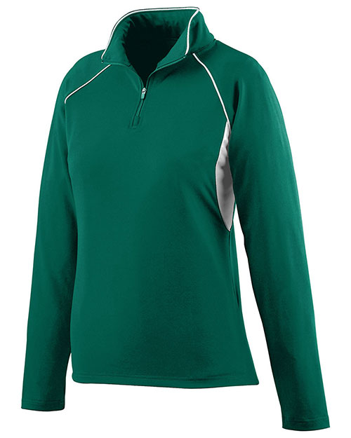 Augusta 4710 Women's Poly/Spandex Athletic Zip Pullover Jacket Dark Green/White at GotApparel