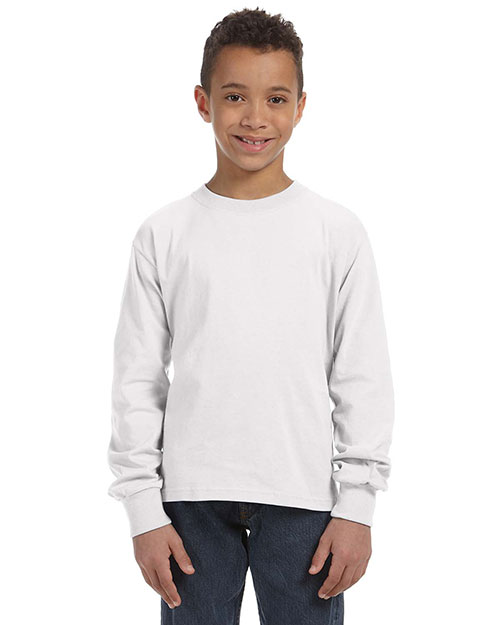 Fruit of the Loom 4930B Boys 5 oz., 100% Heavy Cotton HD LongSleeve T-Shirt White at GotApparel