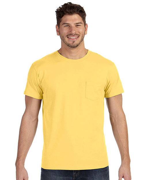 Hanes 498P Men 4.5 oz., 100% Ringspun Cotton nanoT T-Shirt with Pocket Vintage Gold at GotApparel