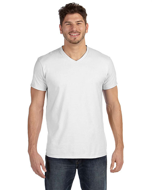 Hanes 498V Men 4.5 oz., 100% Ringspun Cotton nanoT V-Neck TShirt White at GotApparel